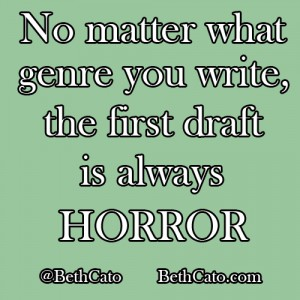 No matter what genre you write, the first draft is always horror.