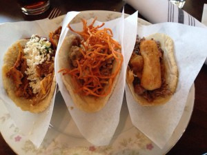 taco guild - from left, chicken, lamb, duck
