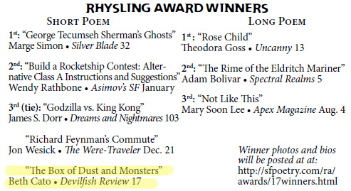 3rd Place for Short Form Rhysling! | BethCato.com