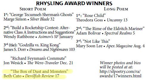 Rhysling Winners 2017