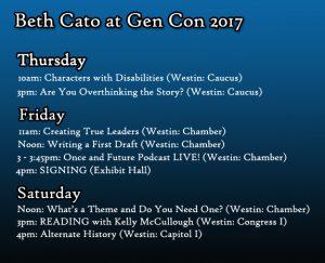 Gen Con 2017 schedule
