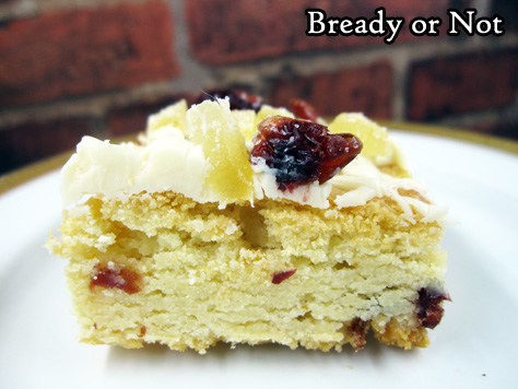 Bready or Not: Cranberry-Candied Ginger Blondies with Macadamia Nuts