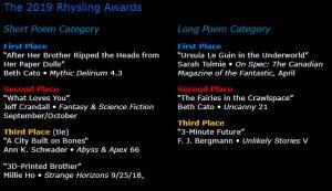 Rhysling winners 2019